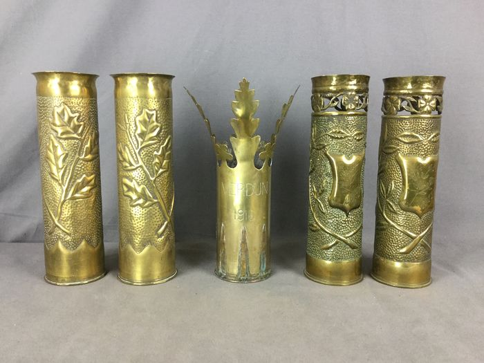 France - 5 trench art shell casings