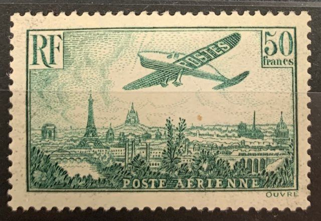 France - Airmail, No. 14a - 50 francs green, VF. - Yvert PA 14a