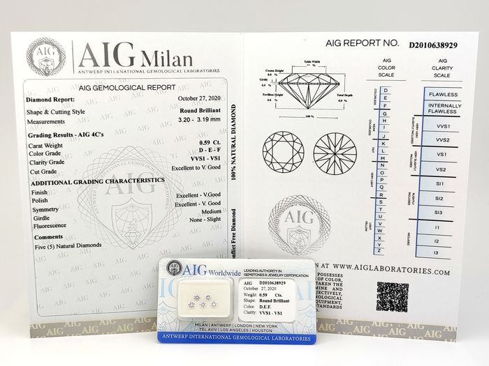 5 pcs Diamants - 0.59 ct - Brillant, Rond - D (incolore), E, F, AIG Certified - VS1, VVS1, VVS2