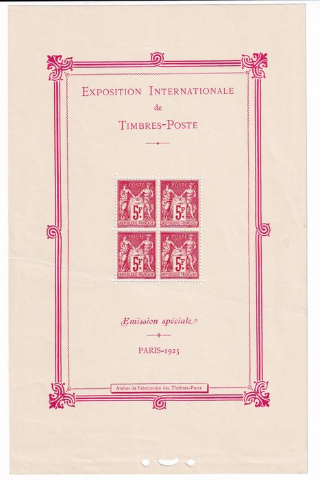 France 1925 - EXPOSITION INTERNATIONALE DE TIMBRES POSTE - Yvert Blocs 1
