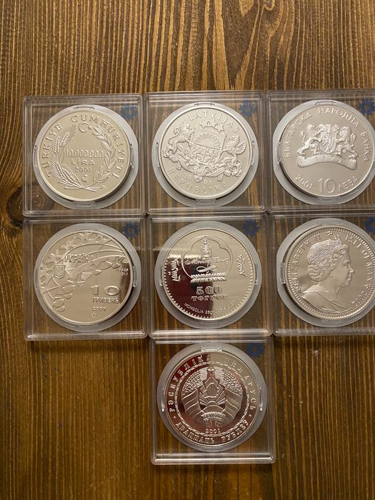 Welt. Collection various crownsize coins 2001/2002 'Salt Lake City Olympic' (7 different)