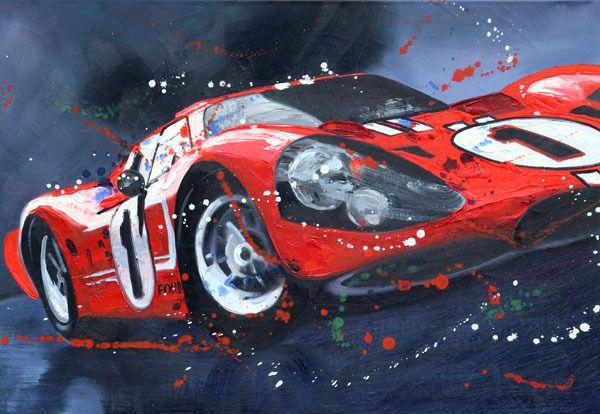 Decoratief object - Ford GT40 MKIV #1 Winner 24H LeMans 1967  ART Fine  artprint LIMTED EDITION  ´NO RESERVE PRICE ` - Limited edition 10 / 50  Signed and numberd by Artist!!