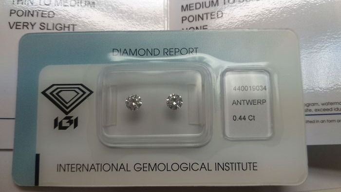 2 pcs Diamants - 0.44 ct - Brillant - D (incolore) - VS1, VVS2, PAIR