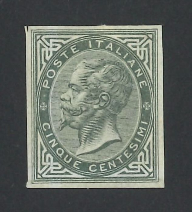Italien Königreich 1863 - 5 cents grey green, imperforate, the only known piece. - Sassone N. L16c