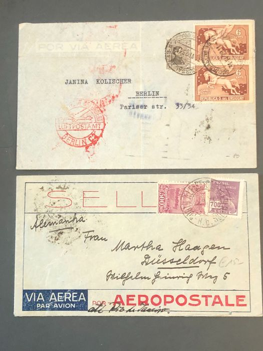 Uruguay - 2 catapult post documents South Atlantic 1934 Uruguay and Brazil - Haberer