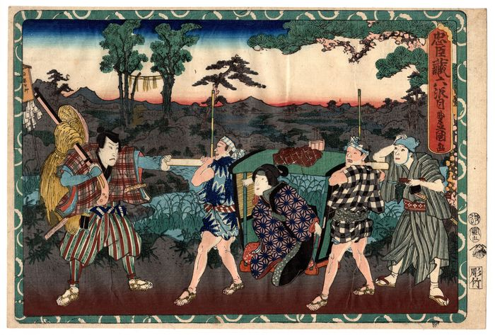 "Gravure originale sur bois - Papier Washi - Quarante-sept Ronin - Utagawa Kunisada (1786-1865) - Kanpei Returns Home as Okaru Leaves for Kyoto - From the series ""The Treasury of Loyal Retainers"" - Japon - 1854 (Kaei 7 / Ansei 1), 5e mois"