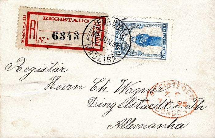 Portugal 1895 - Saint Antony, 200 reis blue on a very rare letter from Funchal bound for Germany - Mundifil 122