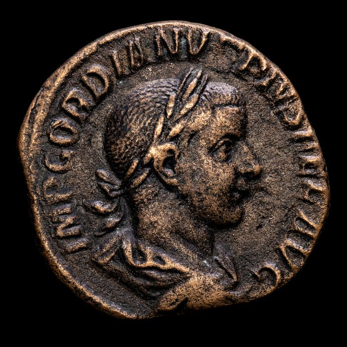 Roman Empire. Gordian III (AD 238-244). Æ Sestertius,  Rome mint - IOVI STATORI - Jupiter with thunderbolt and scepter