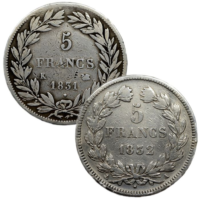 France. Louis Philippe I (1830-1848). 5 Francs 1831-K et 1832-A (lot de 2 monnaies)