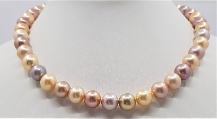 United Pearl - 14 carats Or jaune - Perles Multi Edison 10x12mm - Collier