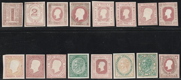 Kingdom of Italy - Essays 1864 - Seguin, set of 16 embossed values with very good margins, imperforate, very rare - Unificato NN.48/59+60A+61/63