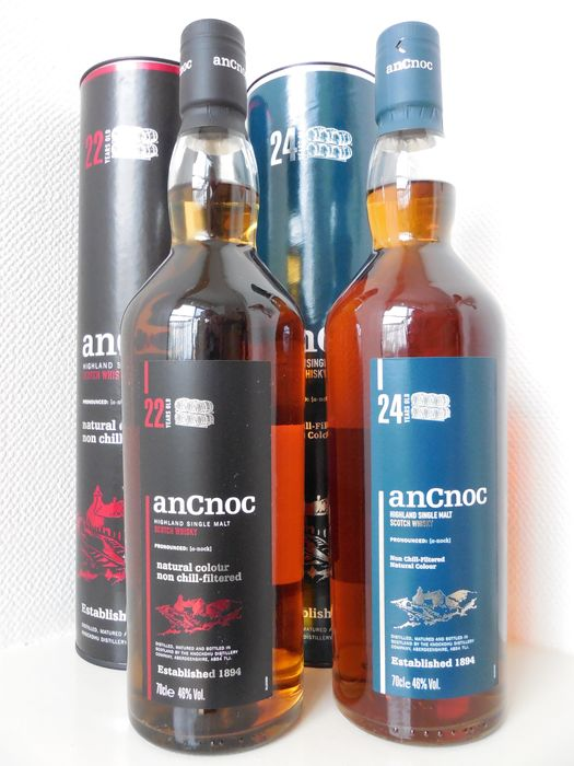 An Cnoc 24 and 22 years old. - Original bottling - 70cl - 2 bottiglie