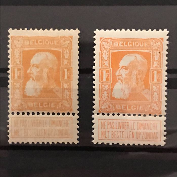 Belgium 1905 - 1Fr Coarse Beard : orange yellow and orange-red - OBP / COB 79 en 79a