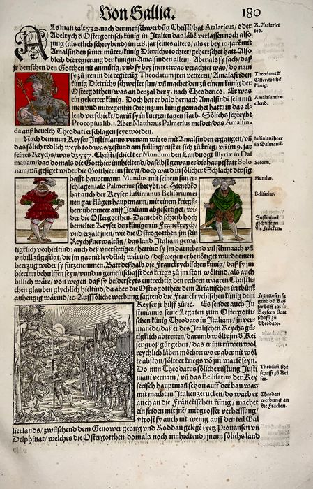Heinrich Vogtherr (the Elder) (1490-1556) - Large folio - 1 woodcut French troops gather & 5 hand coloured Portraits - First Edition - 1548 - 1548