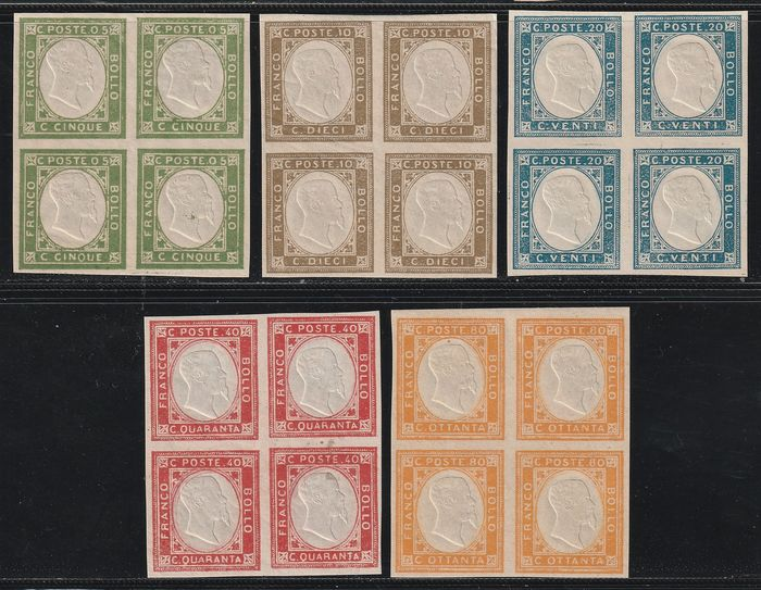 Italienische Antike Staaten - Neapel 1861 - Unissued stamps for Neapolitan Provinces, complete set with good margins in intact blocks of four certified - Sassone S.1 - NN.1/5