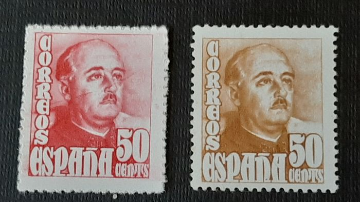 Spanien 1948 - General Franco effigy, colour error in the 50 cts value. Graus certificate. - Filabo 1022 cc