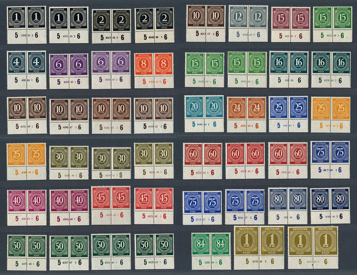 Occupation alliée - Allemagne 1946 - Lot with 94 stamps, digits, Control Council issue with house order number - Michel