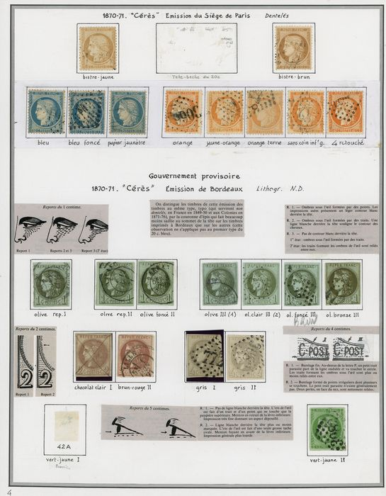 Francia 1870 - A lovely set of classic Ceres stamps including the Bordeaux issue with Rep1 and one balloon mail. - Yvert Entre les n°36 et 49