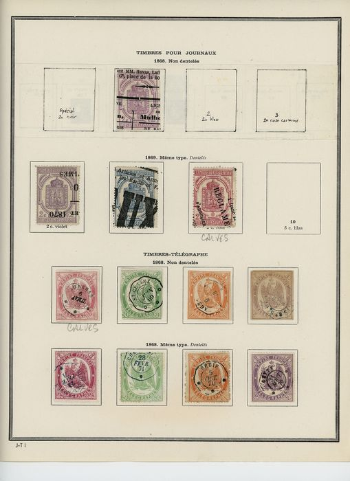 Francia 1868/1884 - Newspaper and telegraph stamps with Sage series, with special postmarks on fragments. - Yvert