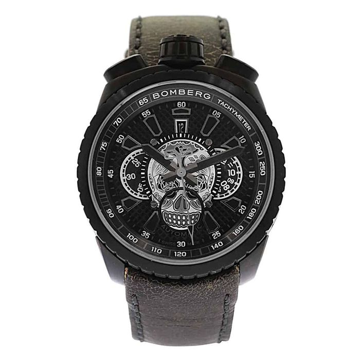 Bomberg - BOLT-68 Skull Limited Edition Black PVD Leather Strap + Medallion and Chain - BS47CHAPBA.024-2.3 - Uomo - 2011-presente