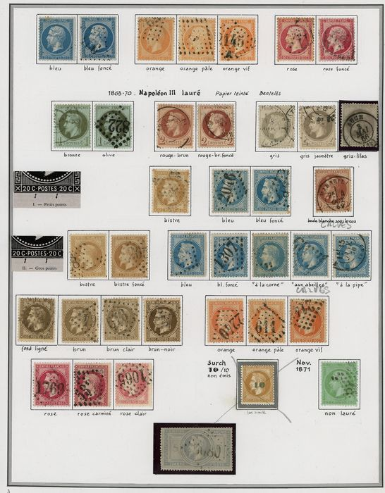 Francia 1862/1871 - A lovely set of classic Napoleon lauré stamps with duplicates for shades and varieties. Value: over - Yvert Entre les n°22 et 35