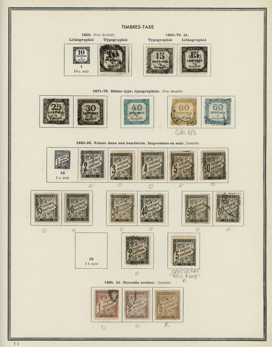 Francia 1884/1917 - Old collection of tax stamps with the black 5 francs Duval, mint with certificate. Value: over 9000. - Yvert Entre les n°2 et 54