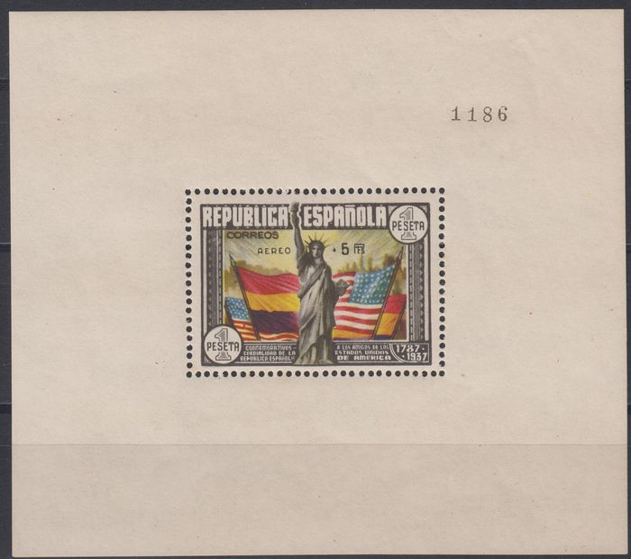 Spanien 1938 - II Republic. Anniversary of the Constitution of the United States miniature sheet. Airmail. - Edifil 766