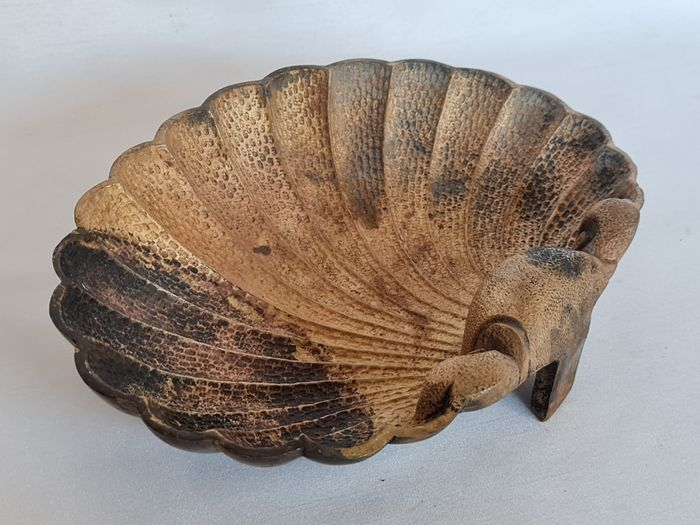 Large solid bronze Vide Poche in the shape of a shell