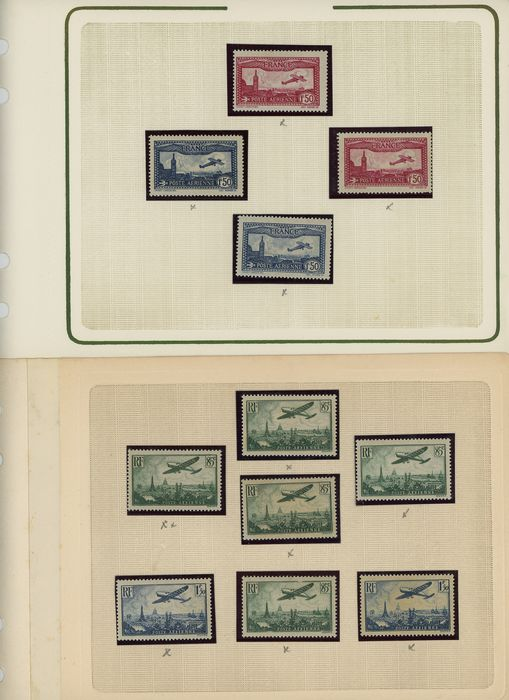 Francia 1930/1982 - Beautiful set of new Air Post with multiple and varieties including imperforate COTE +2200 - Yvert Entre les n°5 et 56