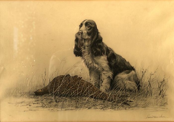 Léon Danchin (1887 - 1938) - A Spaniel with a pheasant