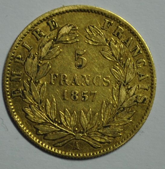 France. Napoléon III (1852-1870). 5 Francs 1857-A, Paris