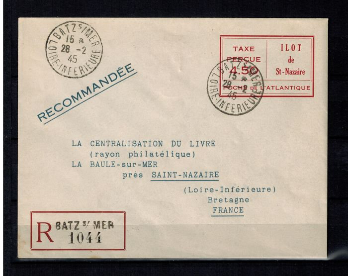 France 1945 - German occupation St. Nazaire U 3 in red - Michel U 3