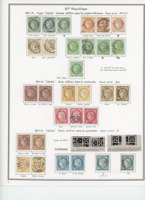 Francia 1871/1900 - A lovely set of classic Ceres, Third Republic and Sage stamps with duplicates for shades. - Yvert Entre les n°50 et 106