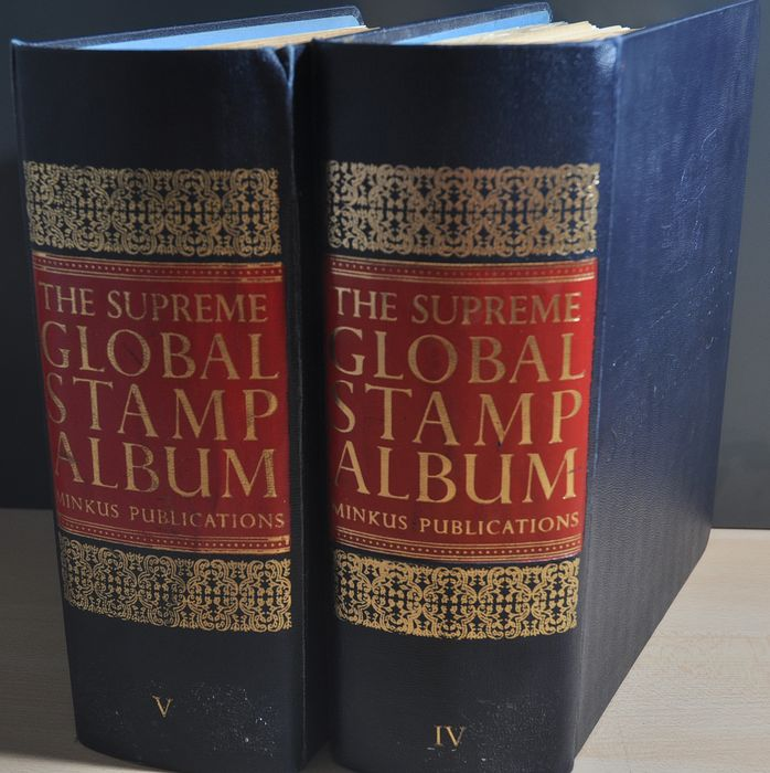 "Welt - Collection in 2 mega thick Minkus ""The Supreme GLOBAL STAMP ALBUMs"""
