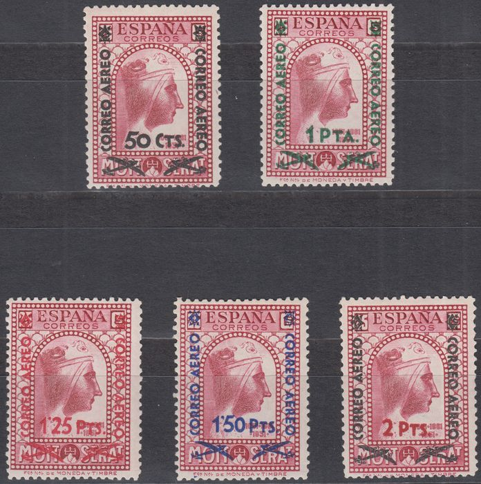 Spanien 1938 - 2nd Republic. Enabled (overprinted) stamps from 1931. Complete set - Edifil 782/786
