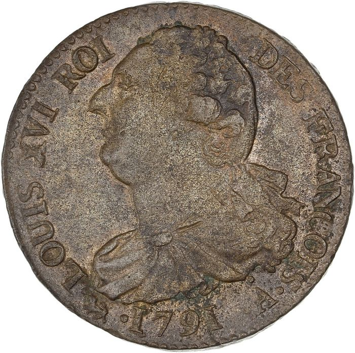 France. Louis XVI (Constitution). 2 Sols 1791-A, Paris