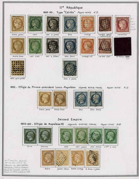 France 1849/1862 - A lovely set of classic Ceres and Napoleon stamps. Value: over 14000. - Yvert Entre les n°1 et 21