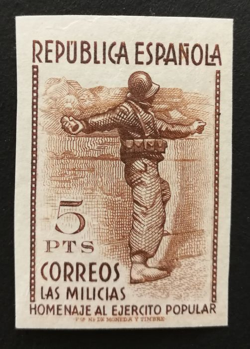 Spanien 1938/1938 - Tribute to the Popular Army. Imperforated key value - Edifil 799s.