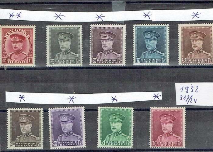 Belgium - HM King Albert I with kepi + Caritas 1910 + UPU postmasters + 1915 Albert I without 5FRANKEN - OBP / COB