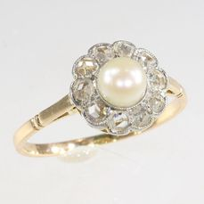 18 kt. Pink gold - Ring, Charming Antique vintage, Anno 1910 - Pearl - Diamonds, Natural (untreated), Free resizing* NO RESERVE PRICE