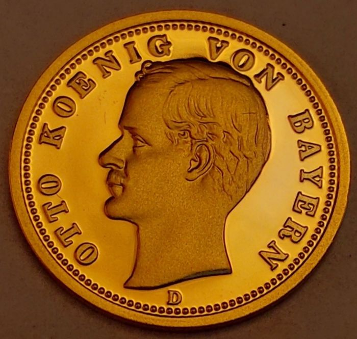 Germany. Otto Koenig von Bayern. 20 Mark 1913 D Original Gold Restirce