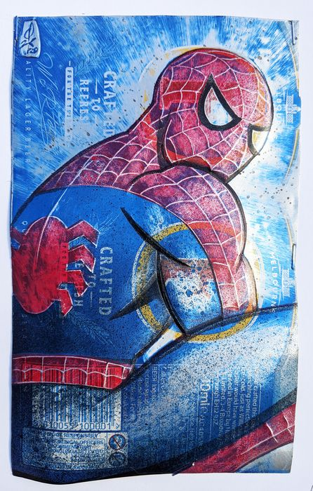ComicCAN - ORIGINAL Artwork by Chris Duncan - SPIDERMAN on FOSTERS can - KUNST - (2020/2020)