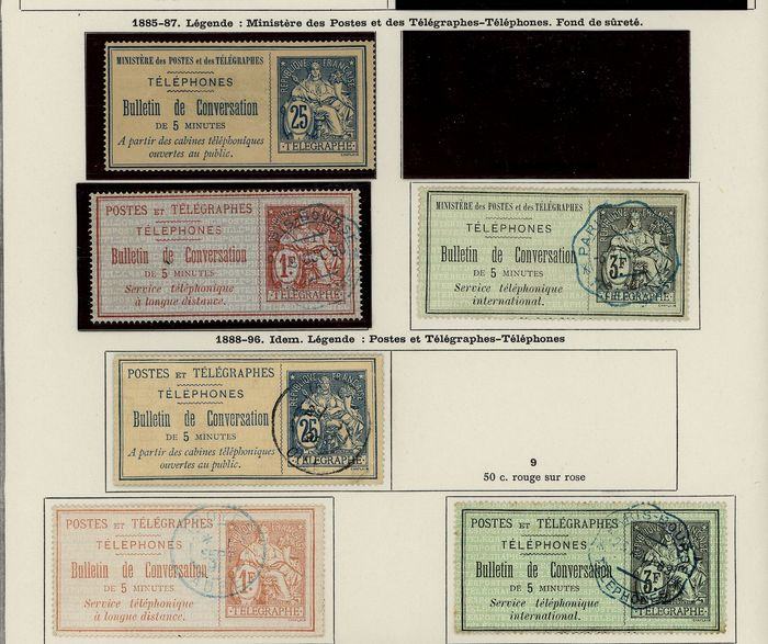 France 1868/1964 - Lot of Telephone stamps with doubles on Ceres pages COTE + 950 - Yvert
