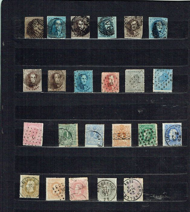 Belgium - stamps from 1849 to 1883 no. 1 with cancellation 86 Neufchateau no. 2 cancellation 4 Anvers no. - OBP / COB