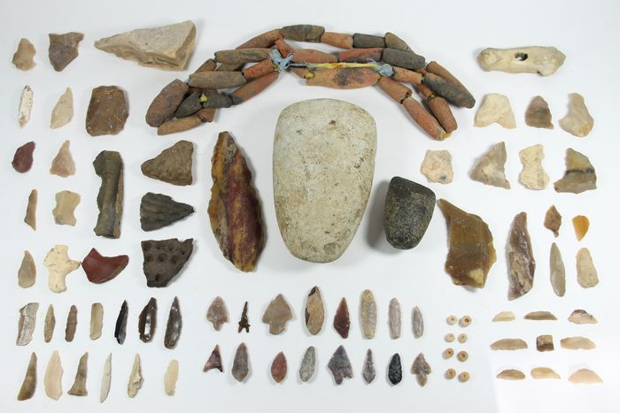 Prehistoric, Neolithic various Reduced minimum price! large collection of great artifacts from the Algerian desert - (120)