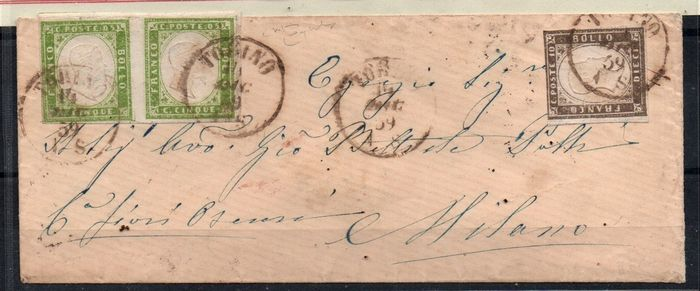Anciens états italiens - Sardaigne 1859 - 5 cents light olive green, two values; 10 cents greyish brown on letter from Turin to Milan - Sassone NN. 13Bb; 14A
