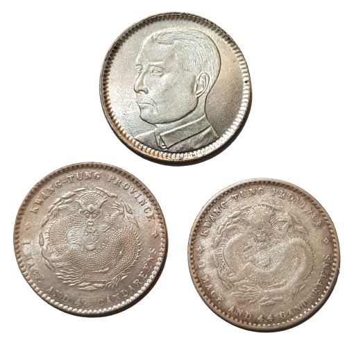 China, Qing dynasty, Republic. Lot comprising 3 silver coins. Kwang Hsu, nd (1890-1908) / Republic of China, year 18 (1929)