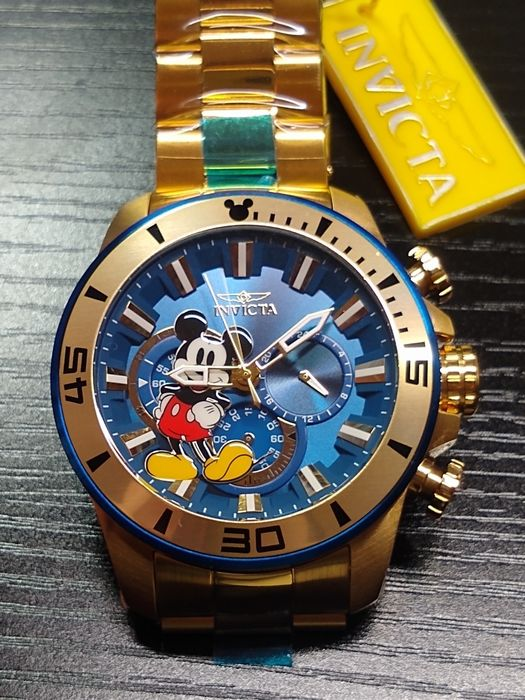 Walt Disney's Mickey Mouse 0614 / 3000 - Rare! Invicta 54mm Walt Disney Mickey Mouse Limited  Edition Diver Wristwatch w/ Blue Dial - Eerste druk