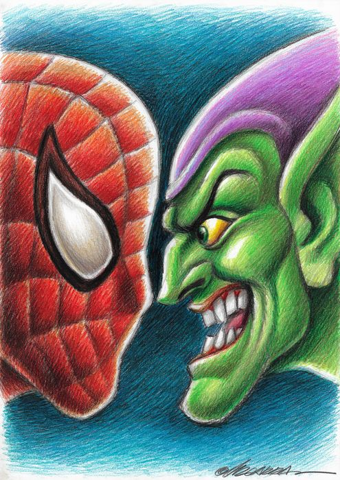 Spiderman vs Green Goblin - Original Drawing By Joan Vizcarra - Originele kunst