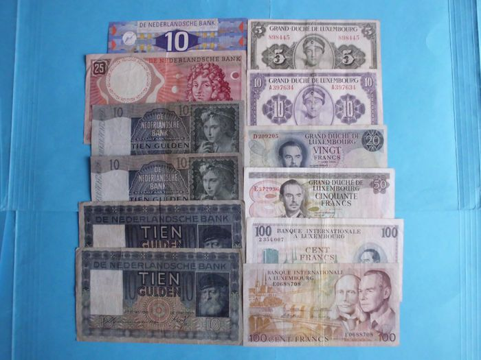 World - Luxembourg, Netherlands - 12 banknotes - Various dates